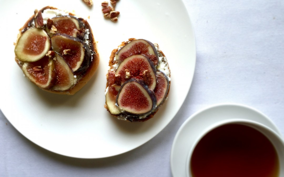 Fig, ricotta and honey on brioche